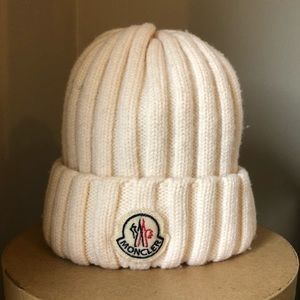 Moncler Signature Wool Hat - off white